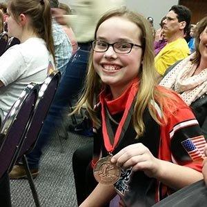 teen girl medalist